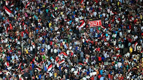 Protesters gather during a demonstration at Tahrir Square. Photograph: Mohamed Abd El Ghany/Reuters