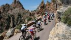 The peloton negotiates a climb during stage three from Ajaccio to Calvi in Corsica.