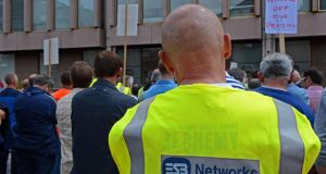 ESB workers gather to voice concerns about their pensions outside the ESB Headquarters in Dublin, recently. Photograph: Eric Luke