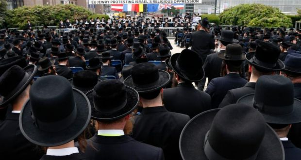 Orthodox Jews gather outside the European Union Council building in Brussels during a protest. Discussions have been ongoing  in Israel as to whether Orthodox rabbis should set standards for all Jews. Photograph: Francois Lenoir/Reuters