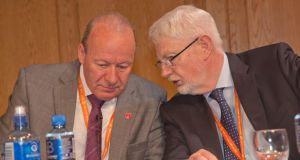 Outgoing Ictu president Eugene McGlone of Unite  (left) with Ictu general secretary  David Begg at the congress biennial delegate conference today in Belfast. Photograph: Kevin Cooper/Photoline