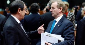 Cyprus's president, Nicos Anastasiades, talks to Taoiseach Enda Kenny during the recent EU summit in Brussels, at which youth unemployment was top of the agenda. Photograph: François Lenoir/Reuters