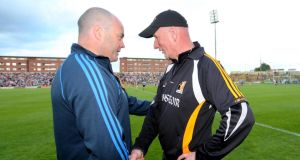 Kilkenny manager Brian Cody  (right) congratulates manager  Anthony Daly after Saturday's historic victory for the Dublin hurlers  in  Portlaoise. Photograph:  James Crombie/Inpho