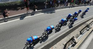 Daniel Martin's Garmin-Sharp team inon yesterday's stage of the Tour de France, a 25km team time trial in Nice. The team finished sixth but, overall, Martin was ipleased with the team's coinsistency. Photograph:  Doug Pensinger/Getty Images.