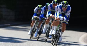 Team time-trial winners Orica Greenedge in action during stage four of the 2013 Tour de France in Nice. Photograph: Doug Pensinger/Getty Images