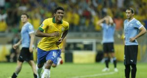 Brazil's Paulinho celebrates scoring against Uruguay during the semi-final of the Confederations Cup. The midfielder will join Tottenham Hotspur in a €2O million deal. Photograph: AP Photo