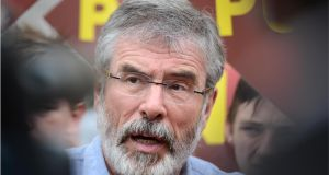 Sinn Féin leader Gerry Adams: said banking collapse happened four or five years ago yet the Government had not known until last week whether any tapes existed. Photograph: Dara Mac Donaill