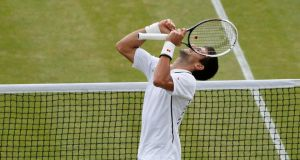 Novak Djokovic celebrates after defeating Tomas Berdych in their men's quarter-final at Wimbledon. Photograph: Suzanne Plunkett/Reuters