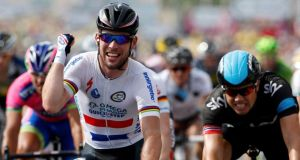 Mark Cavendish celebrates as he wins the fifth stage of the Tour de France from Cagnes-Sur-Mer to Marseille. Photograph: Jean-Paul Pelissier/Reuters