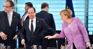 French president Francois Hollande and German chancellor Angela Merkel at the  summit  to address European youth unemployment in Berlin. Photograph: Gregor Fischer/Getty Images