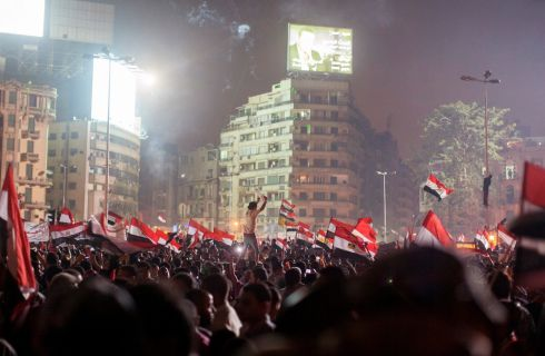 An enormous crowd gathers in Cairo's Tahrir Square after the military announced that Mohammed Morsi had been removed from power. Photograph: Yusuf Sayman/The New York Times