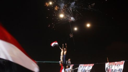 Anti-Morsi protesters celebrate in Tahrir square. Photograph:  Asmaa Waguih/Reuters