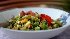 Rhubarb and lentil salad. Photograph: Dara Mac Dónaill