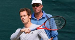 Andy Murray, with his coach Ivan Lendl, on a practice court at Wimbledon.