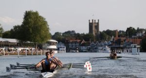 The Star Club (left) row down the straight during their Fawley Challenge Cup race against Maidenhead Rowing Club at Henley Regatta. Photograph: Harry Engels/Getty Images.