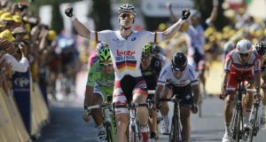 Andre Greipel of Germany  wins  the sixth stage of the Tour de France  in Montpellier yesterday. Photograph: Laurent Rebours/AP