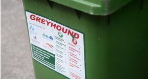 Greyhound will  increase charges by 50 cent a month for customers on a flat monthly charge, 50 cent per black bin collection for customers who pay per lift and two cent per kilogramme for customers who pay by weight only. Photograph: Bryan O'Brien