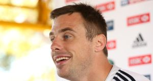 Tommy Bowe at a British & Irish Lions press conference. Photograph: Billy Stickland/Inpho