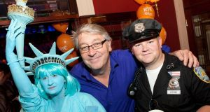 Colm Hayes  with Irene and Jason Coyne at Ruth and Paddy's 2FM July 4th party. Photograph: Tony Kinlan