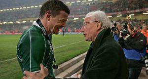 Brian O'Driscoll celebrates Ireland's Grand Slam win in 2009 with Jack Kyle. Dr Kyle said it is 'always nice to think of guys ending on a high note'. Photograph: Inpho