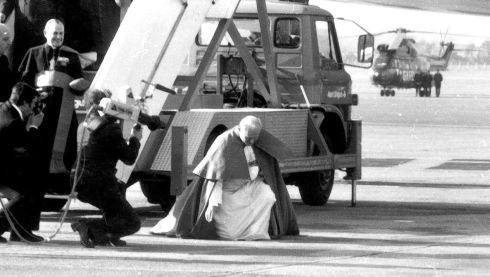 Pope John Paul II  arrives at Dublin Airport for the major national event that was the papal visit in September 1979.