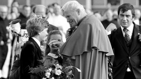 Lisa Dromgoole and Russell Gleeson, both aged 9, present the pope with flowers during the 1979 Irish visit. Photograph: The Irish Times