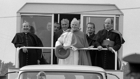 Pope John Paul II in Galway. To his right is Bishop of Galway Eamon Casey. Photograph: The Irish Times