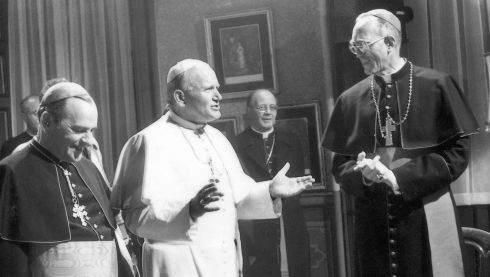 The pope speaks to Cardinal Tomás Ó Fiaich and Archbishop Dermot Ryan at Cabra Convent, Dublin where he conferred with the Catholic hierarchy in September 1979. Photograph: The Irish Times