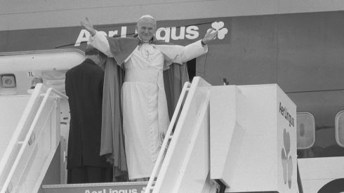 Pope John Paul II at Shannon Airport, preparing to leave Ireland at the end of the visit. Photograph: Dermot O'Shea