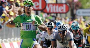 Peter Sagan celebrates after winning  the seventh stage of the  Tour de France from Montpellier to Albi. Photograph: Jacky Naegelen/Reuters