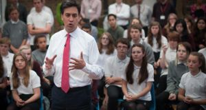 Labour leader Ed Miliband answers questions from pupils at Blatchington Mill School in Hove, near Brighton, yesterday. Photograph: Stefan Rousseau/PA Wire