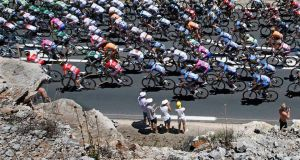 The pack of riders  during the 205.5 km seventh stage of the centenary Tour de France  race from Montpellier to Albi.