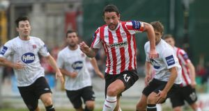Derry's Rory Patterson in action against Dundalk at the Brandywell last night. Photograph: Lorcan Doherty/Inpho