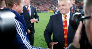 British and Irish Lions head coach Warren Gatland shakes hands with Brian O'Driscoll after winning their series over Australia at the ANZ stadium in Sydney. Photograph: Reuters