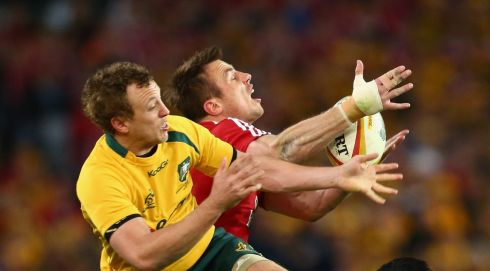 Jesse Mogg  and Tommy Bowe  compete for the ball in the air during the International Test match between the Australian Wallabies and British & Irish Lions in Sydney, Australia.  Photograph: Mark Kolbe/Getty Images