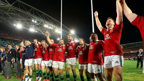Lions players celebrate winning the match against the Wallabies. Photograph: Cameron Spencer/Getty Images