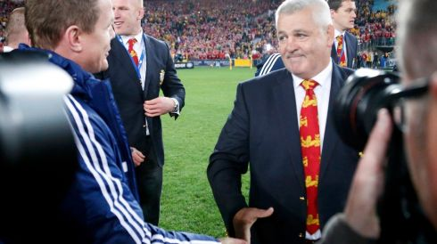British and Irish Lions' head coach Warren Gatland  shakes hands with teammate Brian O'Driscoll after winning their series over Australia Wallabies. Photograph: David Gray/Reuters