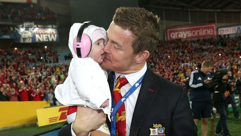 British and Irish Lions's Brian O'Driscoll with his daughter Sadie on the pitch following match. Photograph: David Davies/PA Wire.