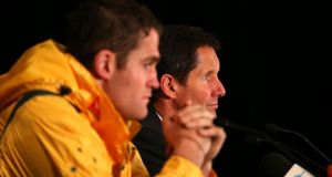 Robbie Deans, coach of the Wallabies and captain James Horwill speak to the media in Sydney. Photograph:  Brendon Thorne/Getty Images