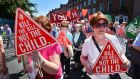 Rally for Life anti-abortion demonstration leaving from Parnell Square and passing through  O'Connell Street. Photograph: Alan Betson /The Irish Times