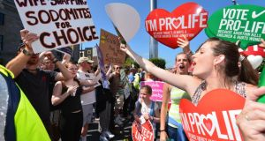 The Rally for Life anti-abortion demonstration passing down  O'Connell Street. Photograph: Alan Betson / The Irish Times