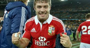 Leigh Halfpenny celebrates after the Lions victory and his man of the match performance. Photograph: Dan Sheridan/Inpho.