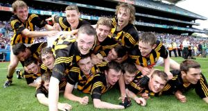Kilkenny minors celebrate their victory over Laois at Croke Park yesterday. Photo: Ryan Byrne/Inpho