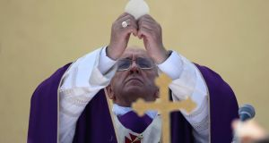 Pope Francis celebrates a mass during his visit to the island. Photograph: Alessandro Bianchi/Reuters