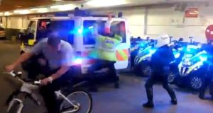 A videograb from the footage of London police officers doing the Harlem Shake