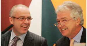 David Drumm and Sean Fitzpatrick of Anglo Irish Bank in 2006.  In 2005 the bank's tracker bond seemed like a prudent and safe investment. Photograph: Alan Betson