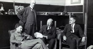 Ezra Pound, John Quinn, Ford Maddox Ford and James Joyce in Pound's Paris studio, circa 1924; Ezra Pound in about 1967, in a restaurant, and, left, in the garden of his studio in Paris. Photograph The Poetry Collection, University of Buffalo