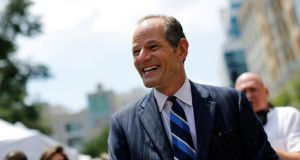 Former New York governor Eliot Spitzer:  asked New Yorkers for forgiveness and a second chance over the prostitution scandal that forced him into the political wilderness for more than five years. Photograph: Brendan McDermid/Reuters