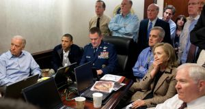 President Barack Obama and Vice President Joe Biden, along with with members of the national security team, receive an update on the mission against Osama bin Laden in the Situation Room of the White House in Washington, DC, on May 1st, 2011