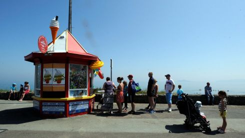 Getting the obligatory icecreams in at Portmarnock strand. Photograph: Dave Meehan